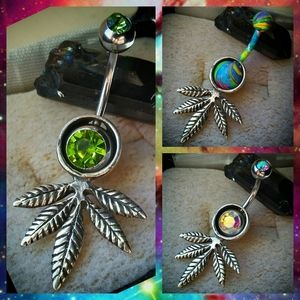 Jewelry - 🌿💚.925 Sterling Silver Leaf Belly Ring Shield